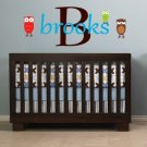 Kids initial monogram name with owls vinyl wall decal goes with zoology owls Collection
