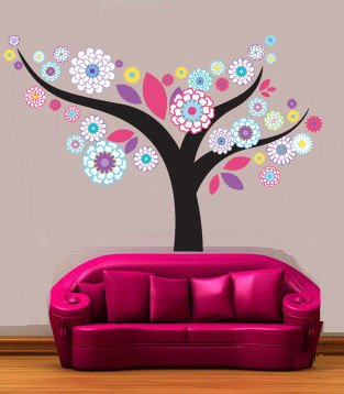 Kids tree vinyl wall decal Floral with leaves great for any nursery or girls room