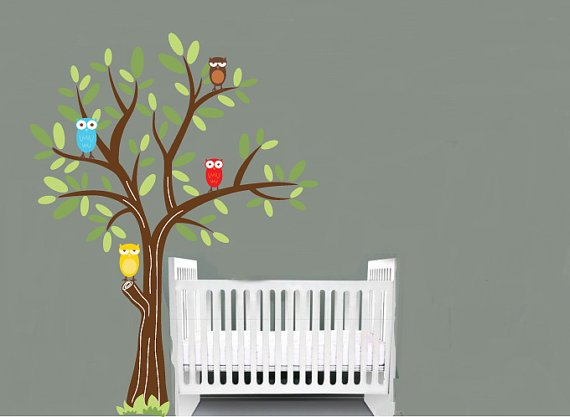 Kids vinyl wall decal tree with cute owls great for a boy nursery