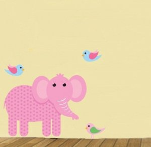 childrens removable vinyl wall decal Elephant with Birds great for any nursery kids room or playroom