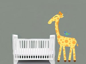childrens removable vinyl wall decal Giraffe with Bird great for any nursery kids room or playroom
