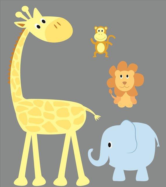 childrens removable vinyl wall decal Elephant Giraffe Monkey Lion great for nursery playroom