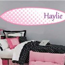 kids teen surfboard with childs name Removable vinyl wall decal nursery sticker mural