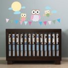 Kids banner flag with 3 owls moon clouds vinyl wall decal cute for nursery