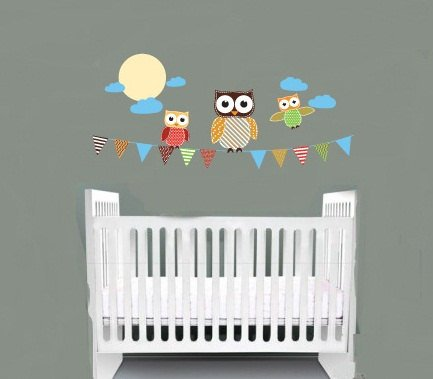 Kids children banner vinyl wall decal with flags 3 owls moon and clouds