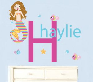 Kids initial monogram name with mermaid fish starfish and bubbles vinyl wall decal