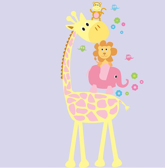 removable vinyl wall decal girls Elephant Giraffe Monkey Lion Birds great for nursery kids room