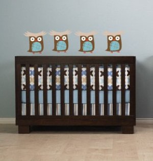 Kids children set of 4 owls you can use for tree or a branch or along a crib/bed vinyl wall decal