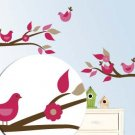 Kids tree branch set of 2 vinyl wall decal with 4 penelope birds
