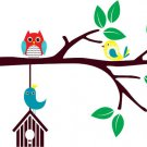 Kids tree branch with hanging bird house owl and birds Vinyl wall decal