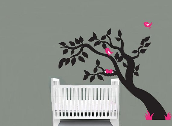 Kids leaning tree vinyl wall decal with bird nest great for any nursery or childs room