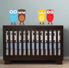 Kids set of 8 owls you can use for tree or a branch or along a crib/bed vinyl wall decal