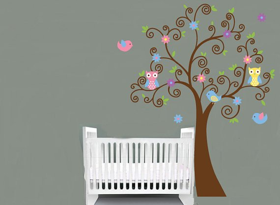 ON SALE Kids vinyl wall decal swirl Tree with owls birds and flowers