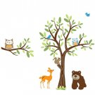 Kids vinyl wall decal Tree with a tree branch set and bear owls birds deer all you need