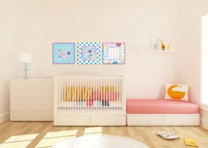 Kids set of 3 Square panels vinyl wall decal Floral look