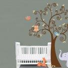 ON SALE Kids vinyl wall decal boy Tree with baby deer elephant 2 owls 2 birds