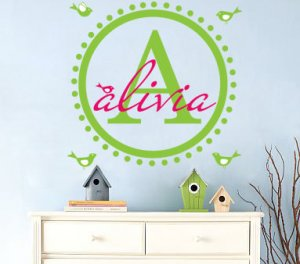 Kids initial monogram round circle vinyl wall decal with set of birds