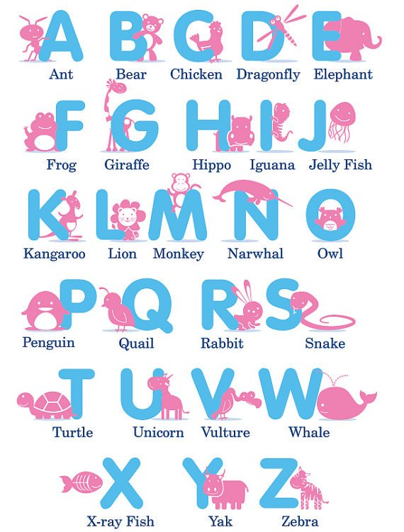 Kids Letters of the Alphabet with animals in any colors removable nursery vinyl wall decal