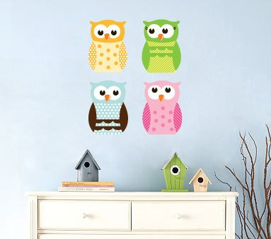 Kids set of 4 owls you can use for tree or a branch or along a crib/bed