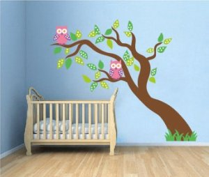 Kids fun leaning tree vinyl wall decal with owls and grass