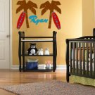 ON SALE palm tree set of 2 and surfboard with name Removable vinyl wall decal nursery sticker mural