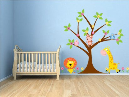 ON SALE Kids tree set Everything you need owls monkey lion giraffe flowers vinyl wall decal