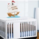kids Pirate Ship boat with childs name Removable vinyl wall decal nursery sticker mural