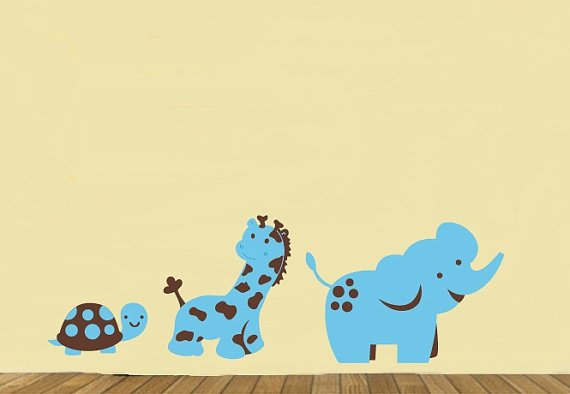 childrens removable vinyl wall decal Elephant Giraffe Turtle great for any nursery kids playroom