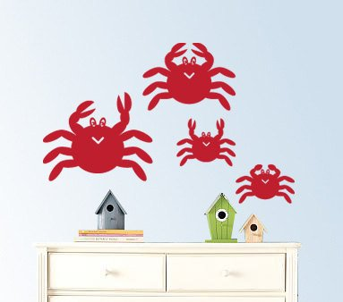 Family of crabs a set of 4 vinyl wall decal great for any nursery kids room of any wall