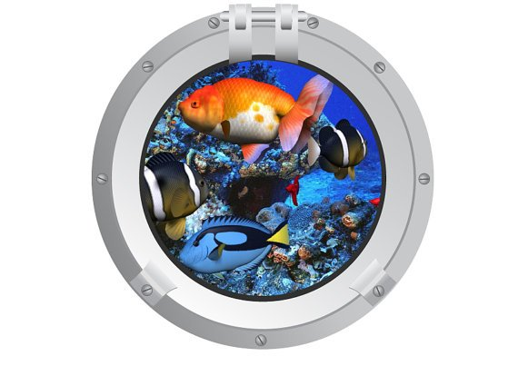 Port hole of fish vinyl wall decal great for any nursery kids room of any wall