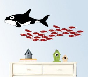 School of fish with a whale vinyl wall decal great for any nursery kids room of any wall