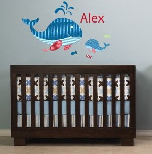 Kids initial monogram name with 2 whales and 4 fish vinyl wall decal cute for a nursery