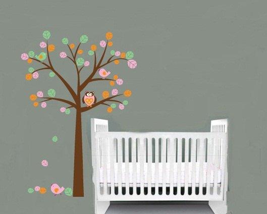 Kids tree vinyl wall decal with birds owl children nursery playroom wall stickers