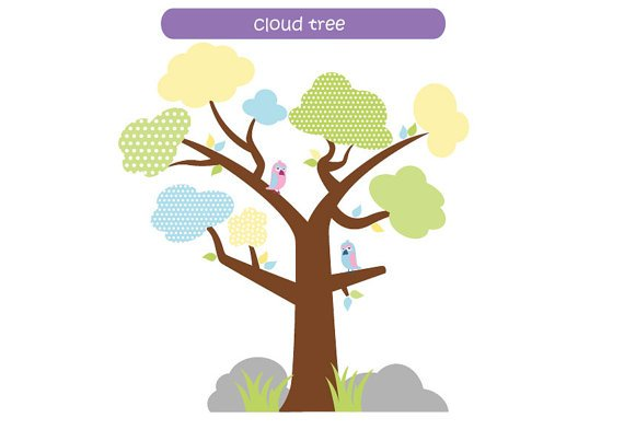 Kids cloud tree vinyl wall decal with 2 birds grass Super cute