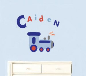 Modern Kids childrens Train with childs name vinyl wall decal