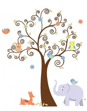 ON SALE Kids vinyl wall decal Tree with baby deer elephant 2 owls 2 birds and flowers