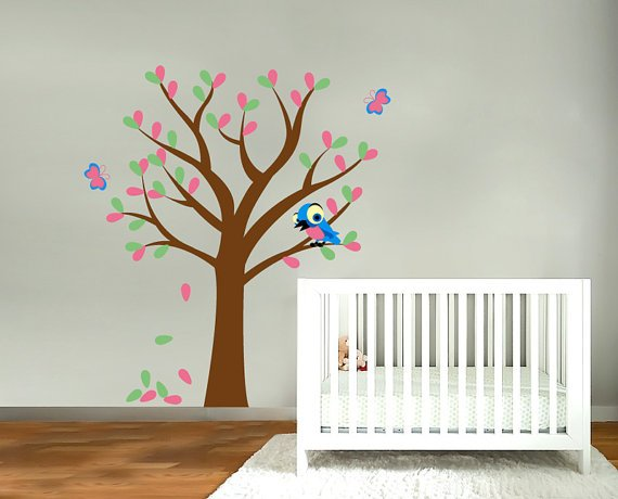 Kids fun tree vinyl wall decal with bird and butterfly's