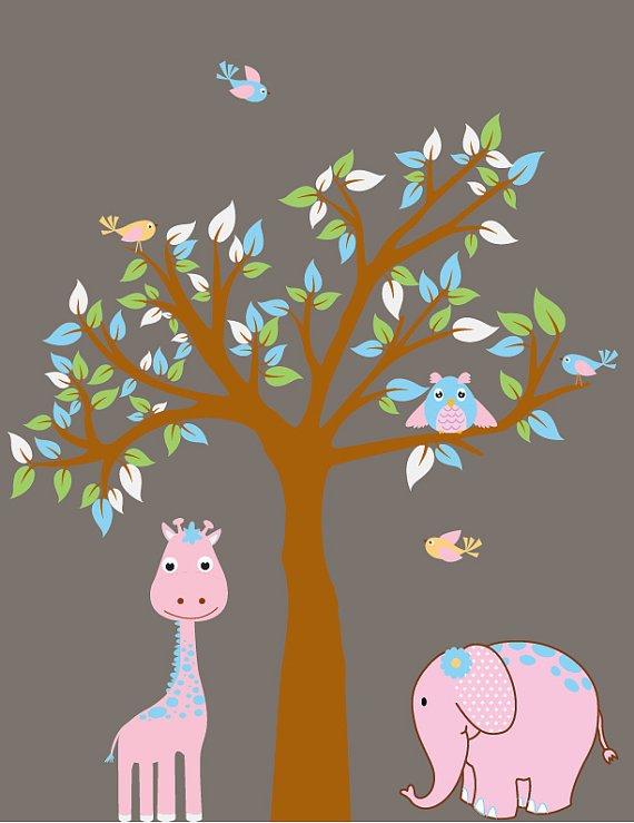 ON SALE Kids vinyl wall decal Tree with elephant giraffe owl and birds Girl safari so cute