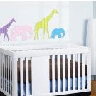Elephant Giraffe set of 4 Kids vinyl wall decal great for nursery
