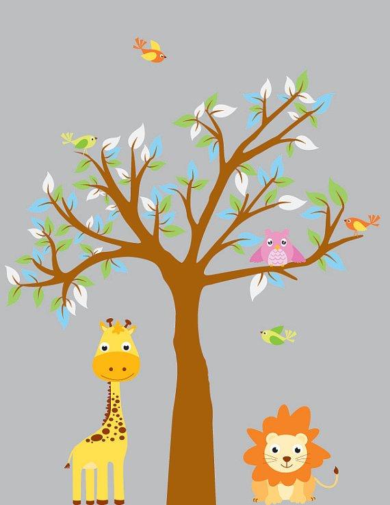 kids vinyl wall decal tree with owls birds lion giraffe great for nursery or kids room
