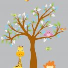 kids vinyl wall decal tree with owls birds lion giraffe great for nursery or kids room