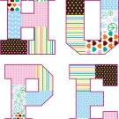 Kids initial monogram patchwork HOPE vinyl wall decal letters