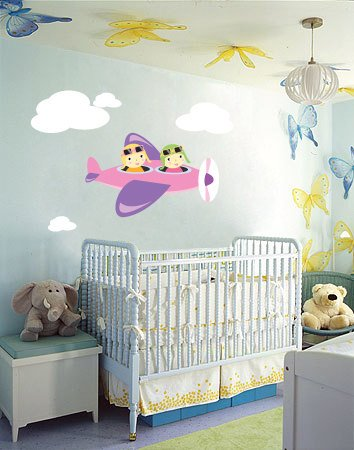 Kids banner vinyl wall decal Airplane with 2 kids and set of clouds