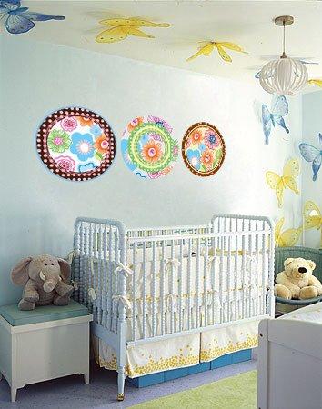 ON SALE Kids flower circle polka dots vinyl wall decal set of 3