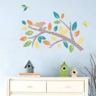 Kids tree branch vinyl wall decal with 4 birds coordinate Migi Little Tree bedding by Bananafish