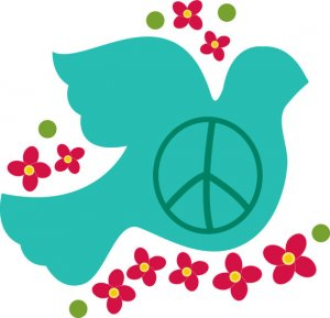 Bird of peace dove vinyl wall decal with flowers