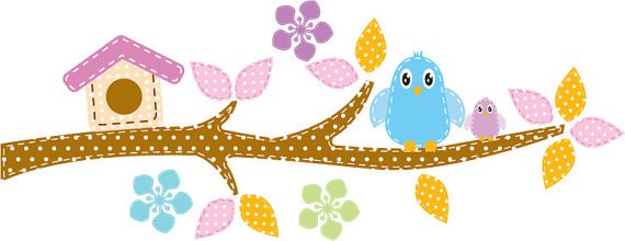 Kids tree branch vinyl wall decal with bird house birds and flowers
