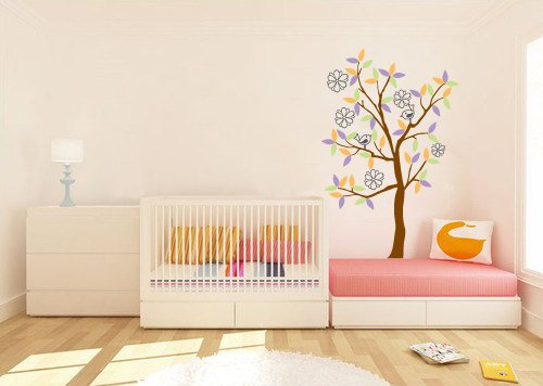 kids thin tree vinyl wall decal with birds and flowers great for nursery or kids room