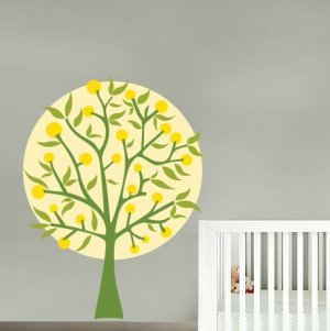 Lemon tree vinyl wall decal coordinates with Oh, What a Beautiful Morning Crib Bedding