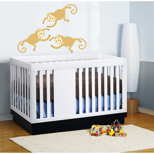 kids vinyl wall decal set of 3 monkeys great for nursery or kids room